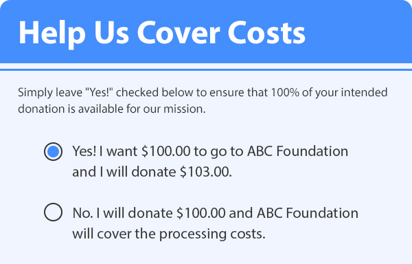 Donors Cover Costs