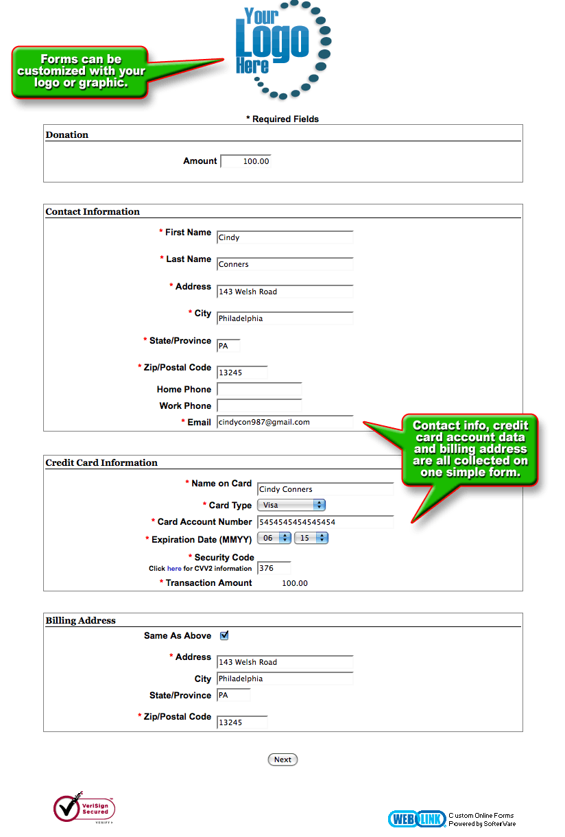 online donation page templates for weblink donorperfect view sample