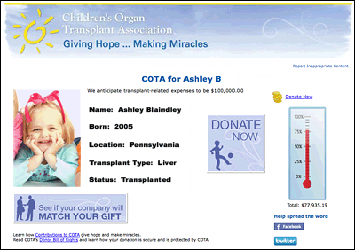 Patient Fundraising Page Example