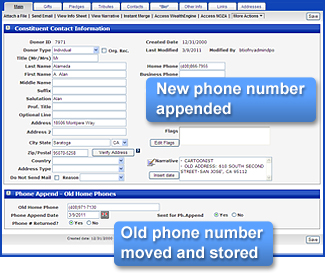 Donor Data Enhancement for adding phone numbers